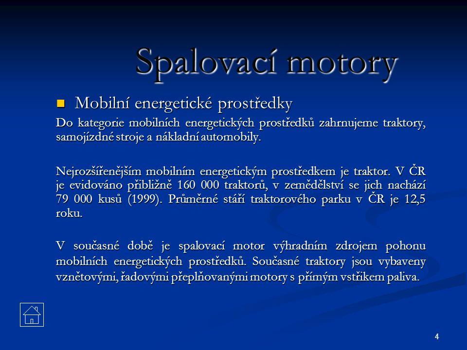 Spalovací motory Mobilní energetické prostředky