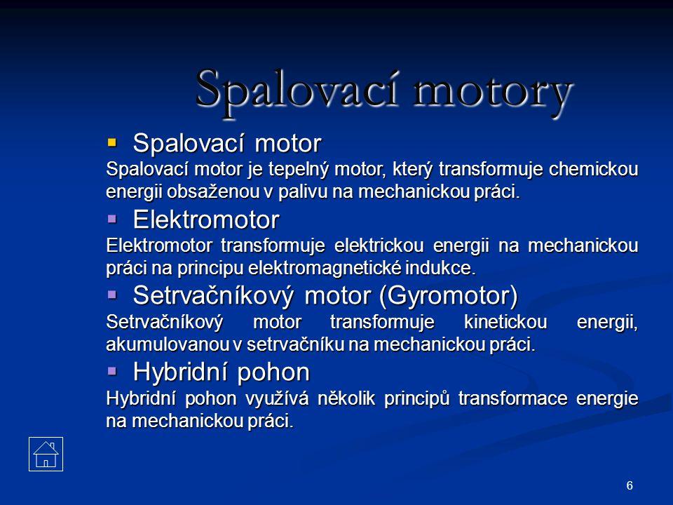 Spalovací motory Spalovací motor Elektromotor