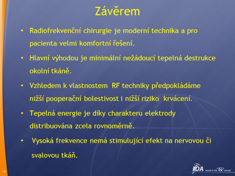 Závěrem Radiofrekvenční chirurgie je moderní technika a pro pacienta velmi komfortní řešení.