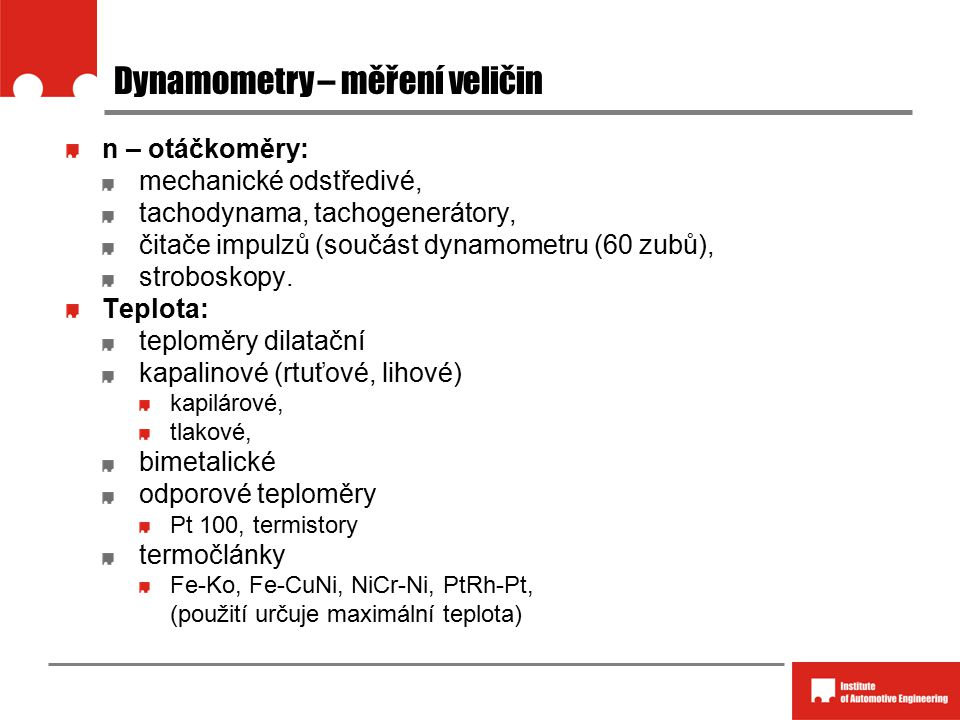 Dynamometry – měření veličin