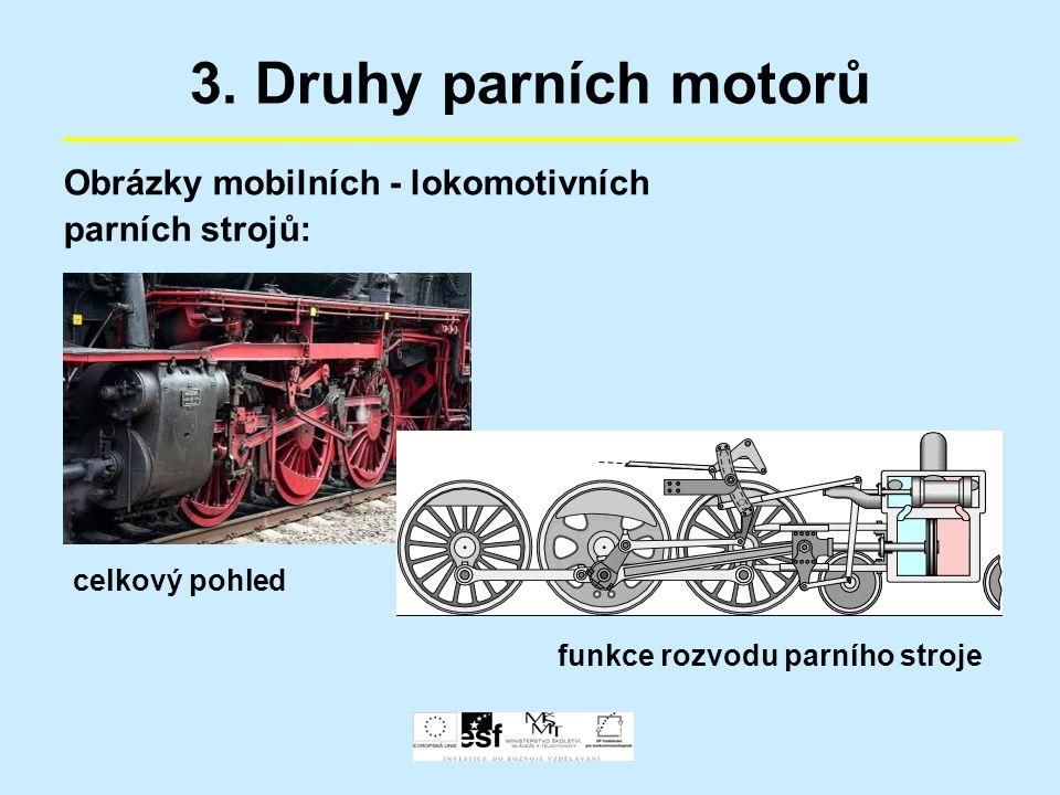 3. Druhy parních motorů Obrázky mobilních - lokomotivních