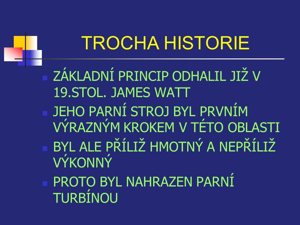 TROCHA HISTORIE ZÁKLADNÍ PRINCIP ODHALIL JIŽ V 19.STOL. JAMES WATT