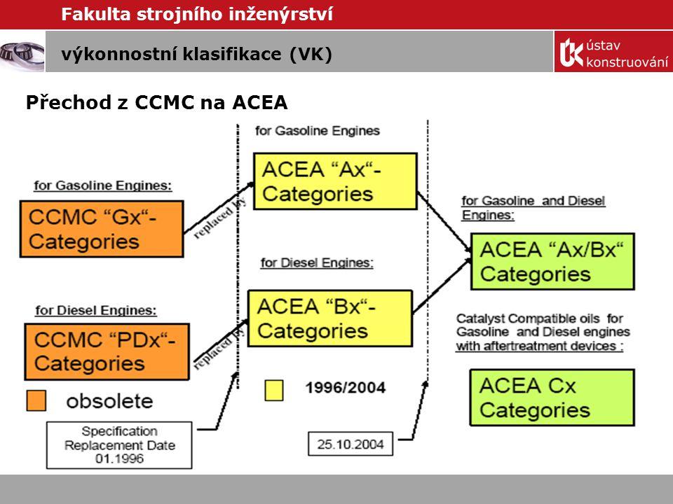 Přechod z CCMC na ACEA výkonnostní klasifikace (VK)