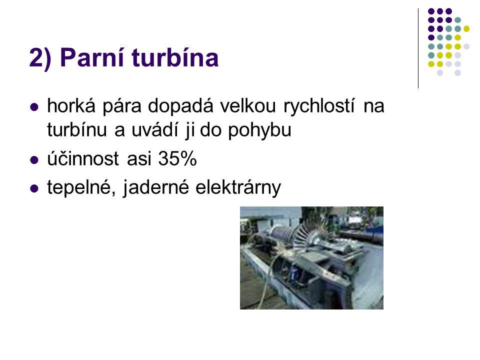 2) Parní turbína horká pára dopadá velkou rychlostí na turbínu a uvádí ji do pohybu. účinnost asi 35%