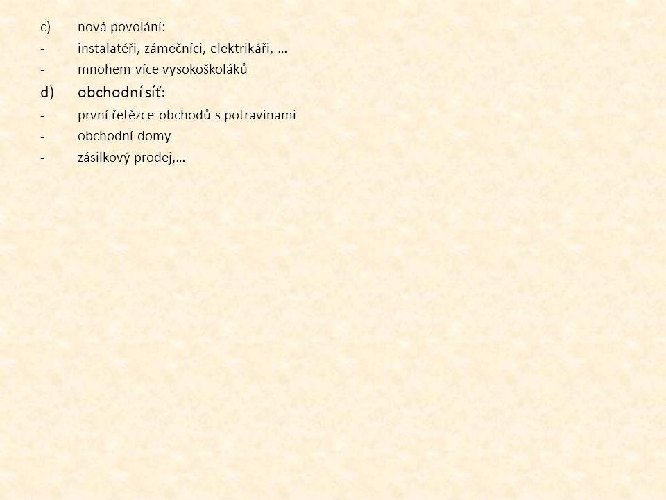 obchodní síť: nová povolání: instalatéři, zámečníci, elektrikáři, …