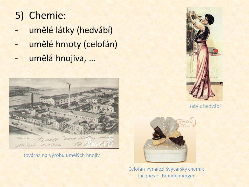 Chemie: umělé látky (hedvábí) umělé hmoty (celofán) umělá hnojiva, …