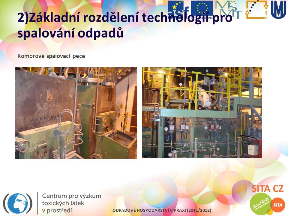 2)Základní rozdělení technologií pro spalování odpadů