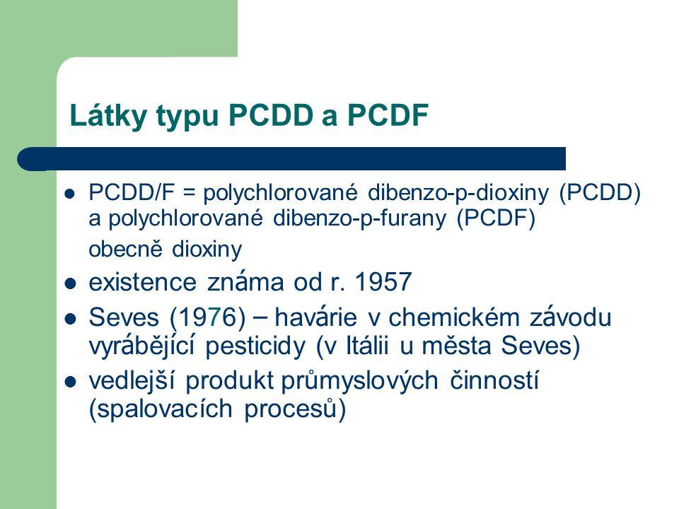 Látky typu PCDD a PCDF existence známa od r. 1957