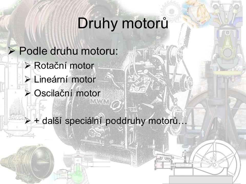 Druhy motorů Podle druhu motoru: Rotační motor Lineární motor