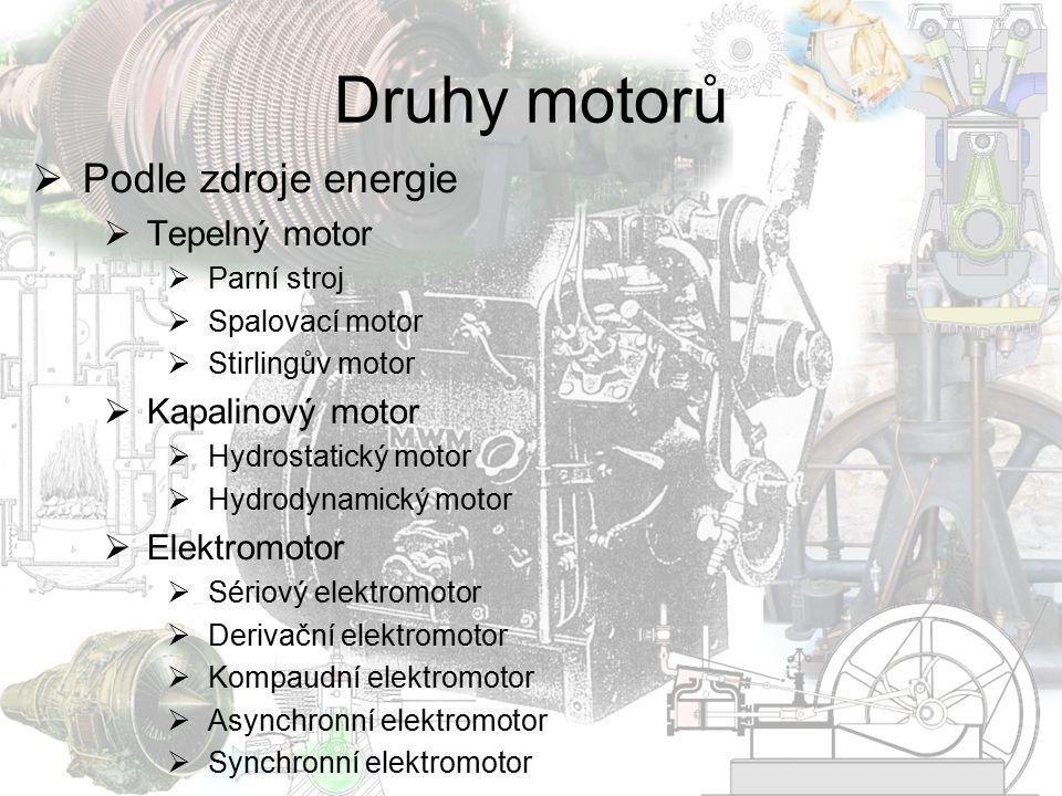 Druhy motorů Podle zdroje energie Tepelný motor Kapalinový motor