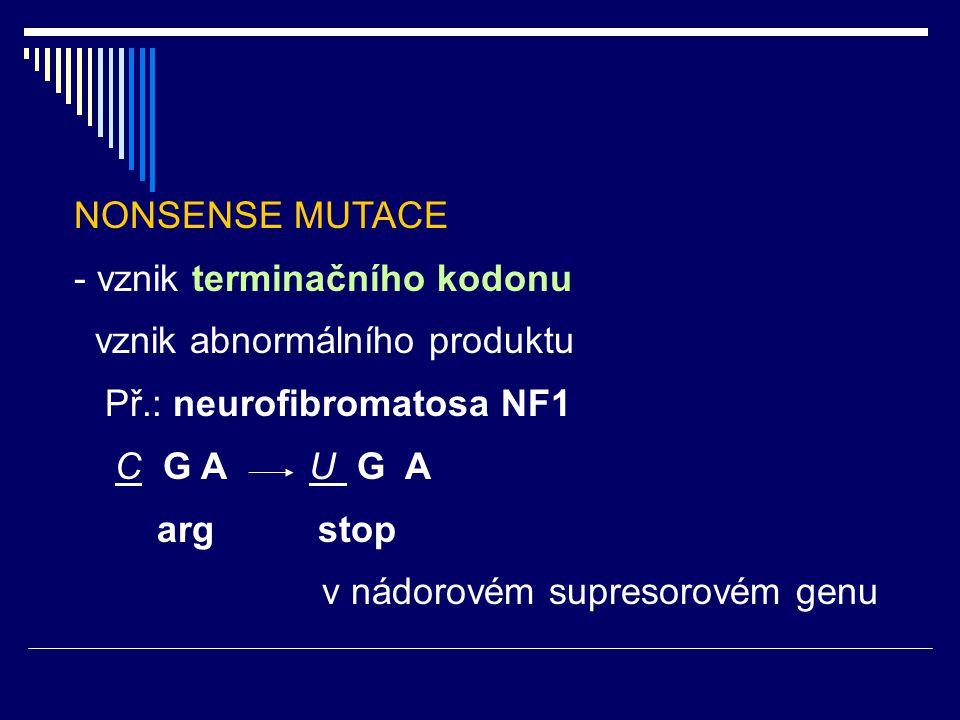 NONSENSE MUTACE - vznik terminačního kodonu. vznik abnormálního produktu. Př.: neurofibromatosa NF1.