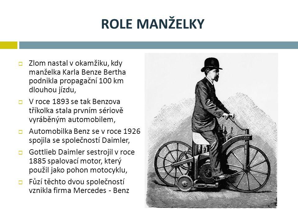 Role manželky Zlom nastal v okamžiku, kdy manželka Karla Benze Bertha podnikla propagační 100 km dlouhou jízdu,