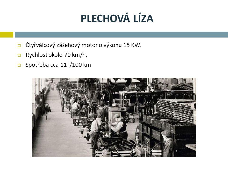 Plechová líza Čtyřválcový zážehový motor o výkonu 15 KW,