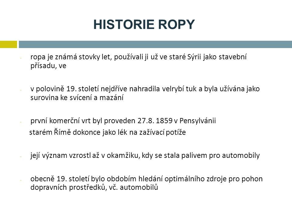 HISTORIE ROPY ropa je známá stovky let, používali ji už ve staré Sýrii jako stavební přísadu, ve.