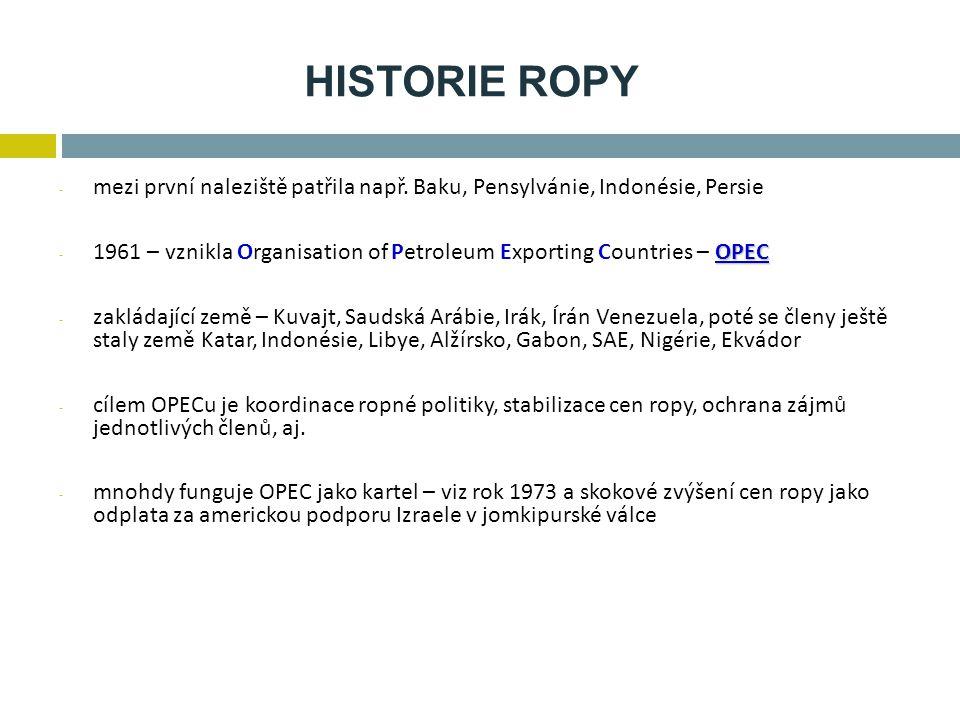 HISTORIE ROPY mezi první naleziště patřila např. Baku, Pensylvánie, Indonésie, Persie.