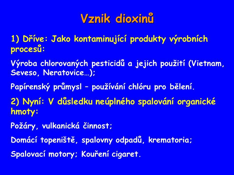 Vznik dioxinů 1) Dříve: Jako kontaminující produkty výrobních procesů: