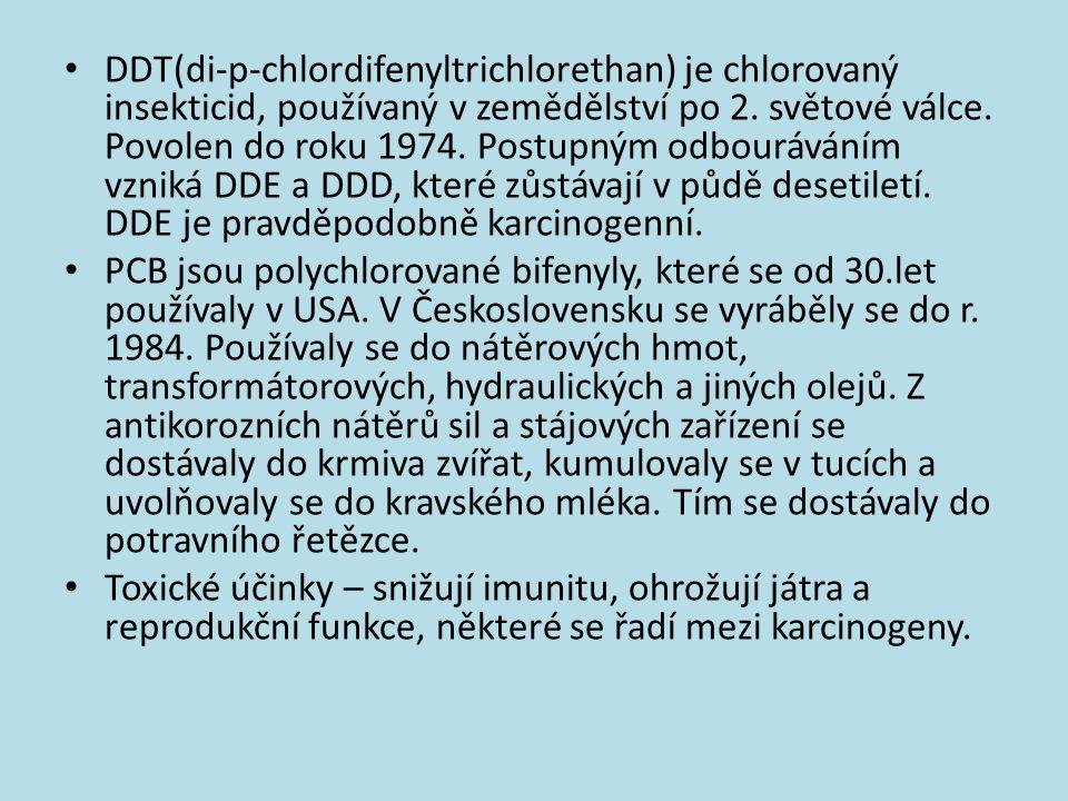 DDT(di-p-chlordifenyltrichlorethan) je chlorovaný insekticid, používaný v zemědělství po 2. světové válce. Povolen do roku 1974. Postupným odbouráváním vzniká DDE a DDD, které zůstávají v půdě desetiletí. DDE je pravděpodobně karcinogenní.