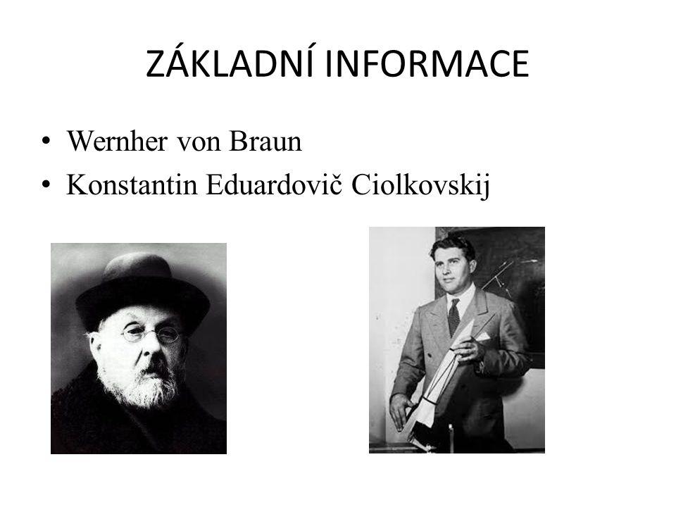 ZÁKLADNÍ INFORMACE Wernher von Braun Konstantin Eduardovič Ciolkovskij