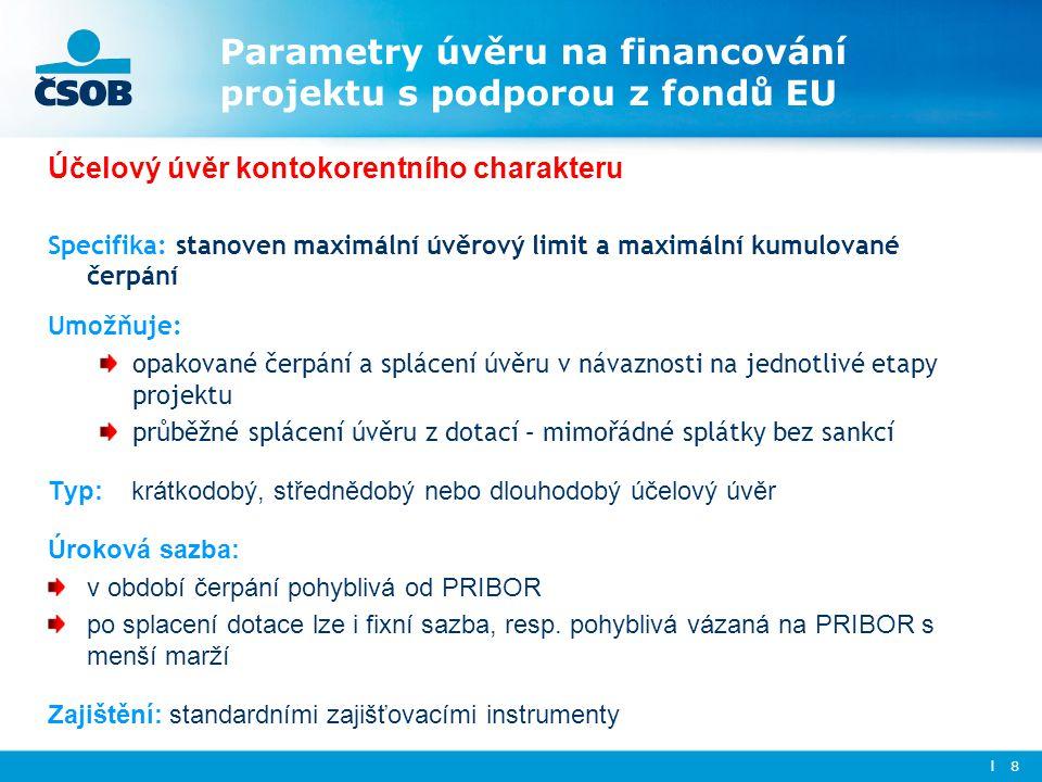 Parametry úvěru na financování projektu s podporou z fondů EU