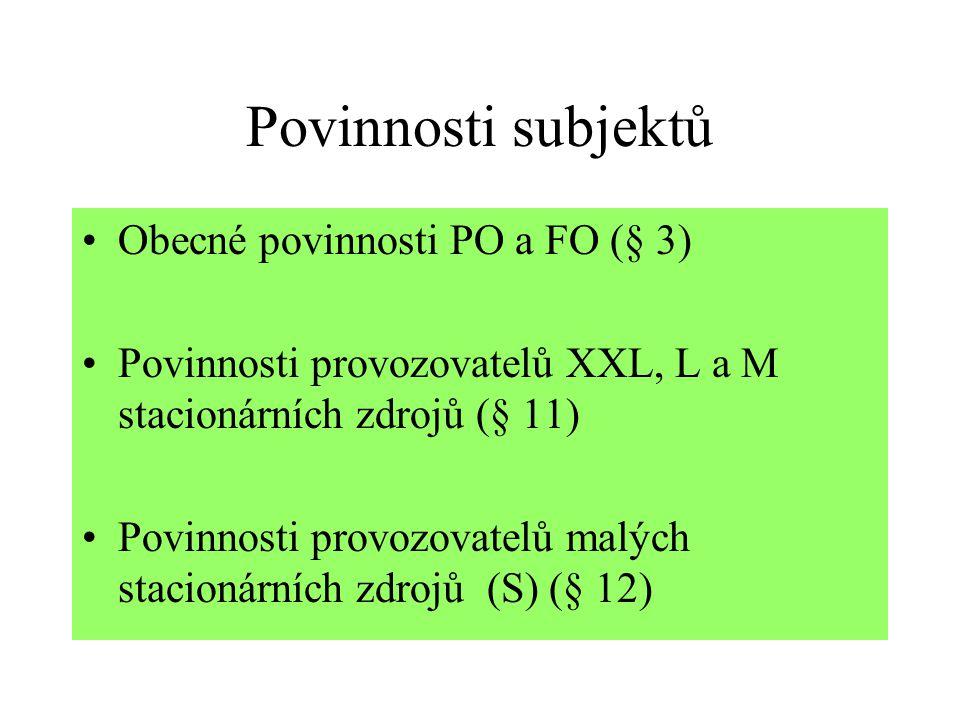 Povinnosti subjektů Obecné povinnosti PO a FO (§ 3)