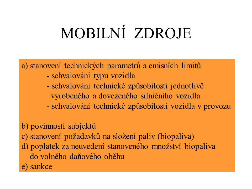 MOBILNÍ ZDROJE a) stanovení technických parametrů a emisních limitů