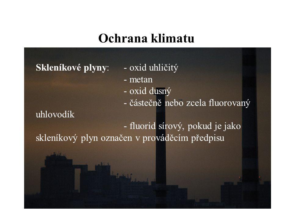 Ochrana klimatu Skleníkové plyny: - oxid uhličitý - metan - oxid dusný