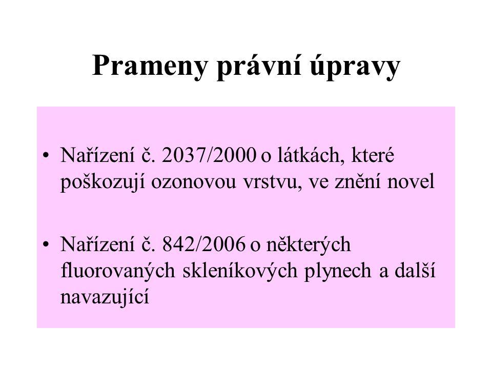Prameny právní úpravy Nařízení č. 2037/2000 o látkách, které poškozují ozonovou vrstvu, ve znění novel.