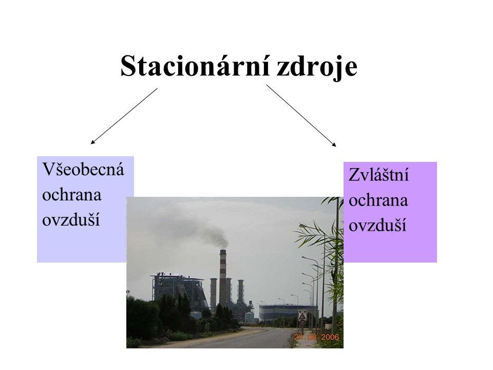Stacionární zdroje Všeobecná ochrana ovzduší Zvláštní ochrana ovzduší