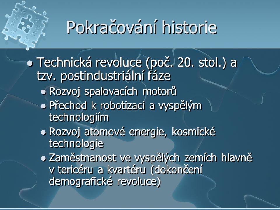 Pokračování historie Technická revoluce (poč. 20. stol.) a tzv. postindustriální fáze. Rozvoj spalovacích motorů.