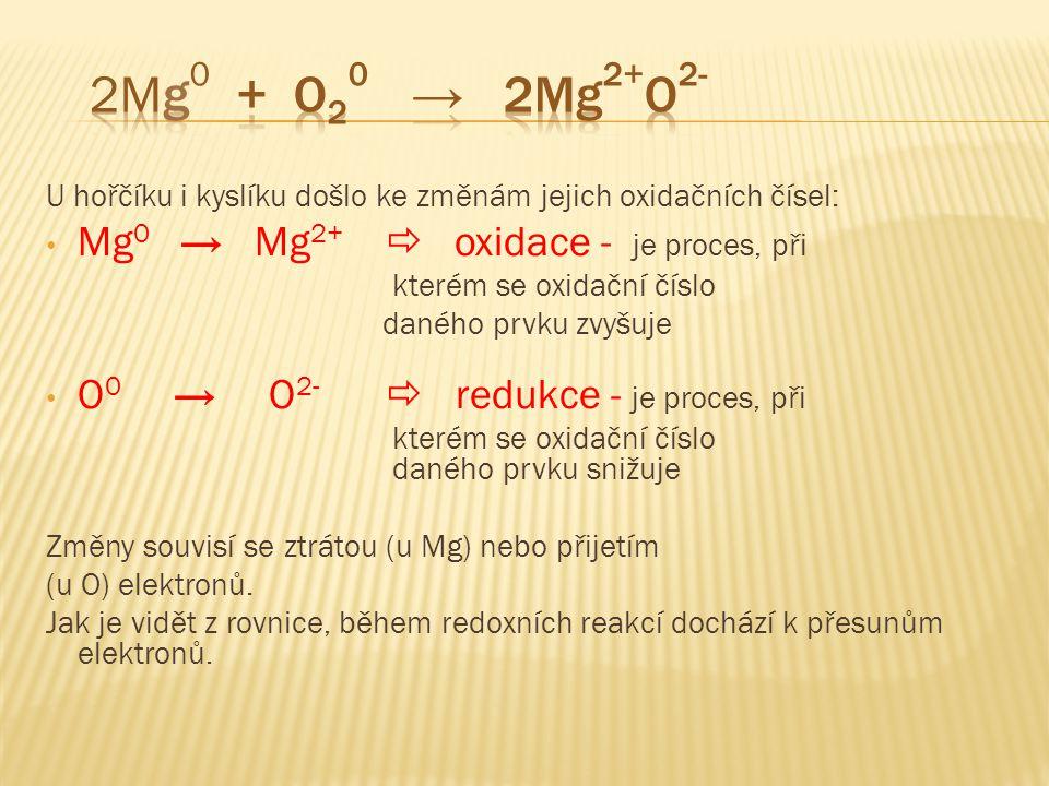 2Mg0 + O20 → 2Mg2+O2- Mg0 → Mg2+  oxidace - je proces, při
