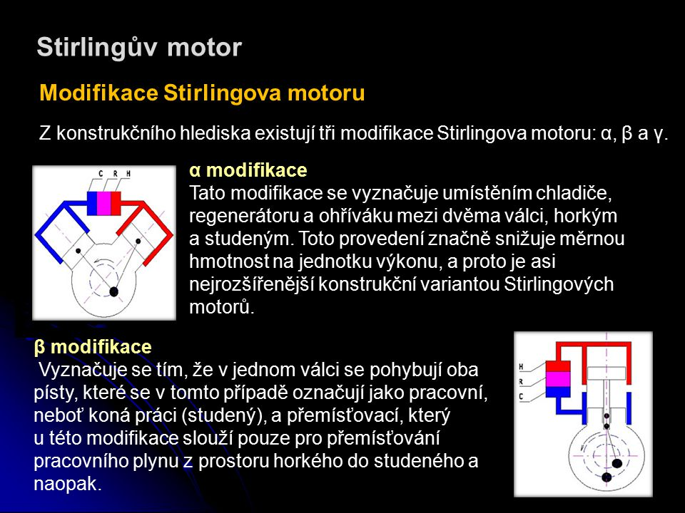 Stirlingův motor Modifikace Stirlingova motoru