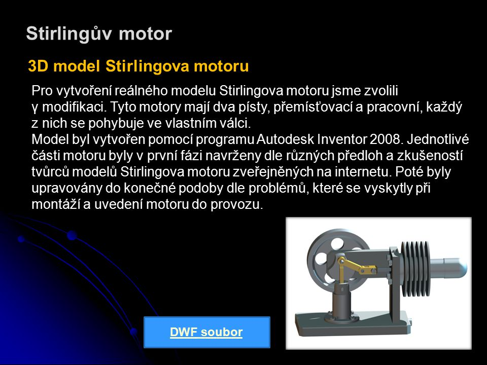 Stirlingův motor 3D model Stirlingova motoru