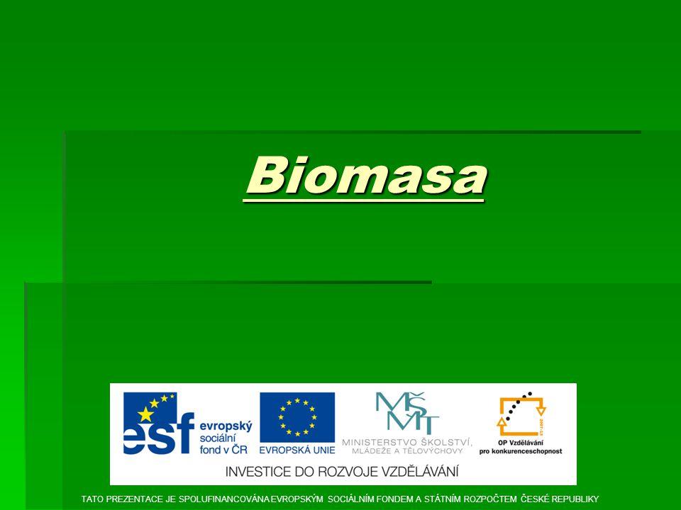 Biomasa TATO PREZENTACE JE SPOLUFINANCOVÁNA EVROPSKÝM SOCIÁLNÍM FONDEM A STÁTNÍM ROZPOČTEM ČESKÉ REPUBLIKY.