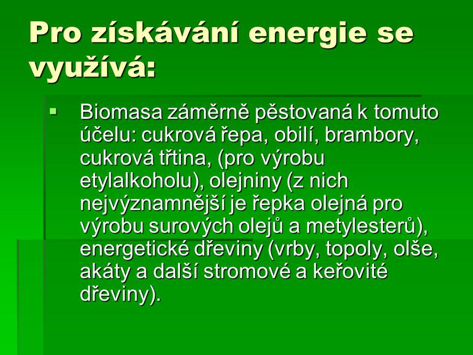 Pro získávání energie se využívá: