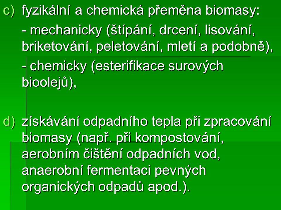 fyzikální a chemická přeměna biomasy: