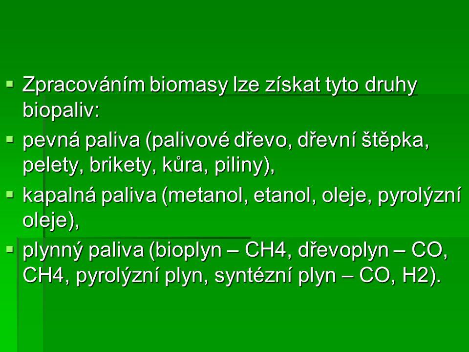 Zpracováním biomasy lze získat tyto druhy biopaliv: