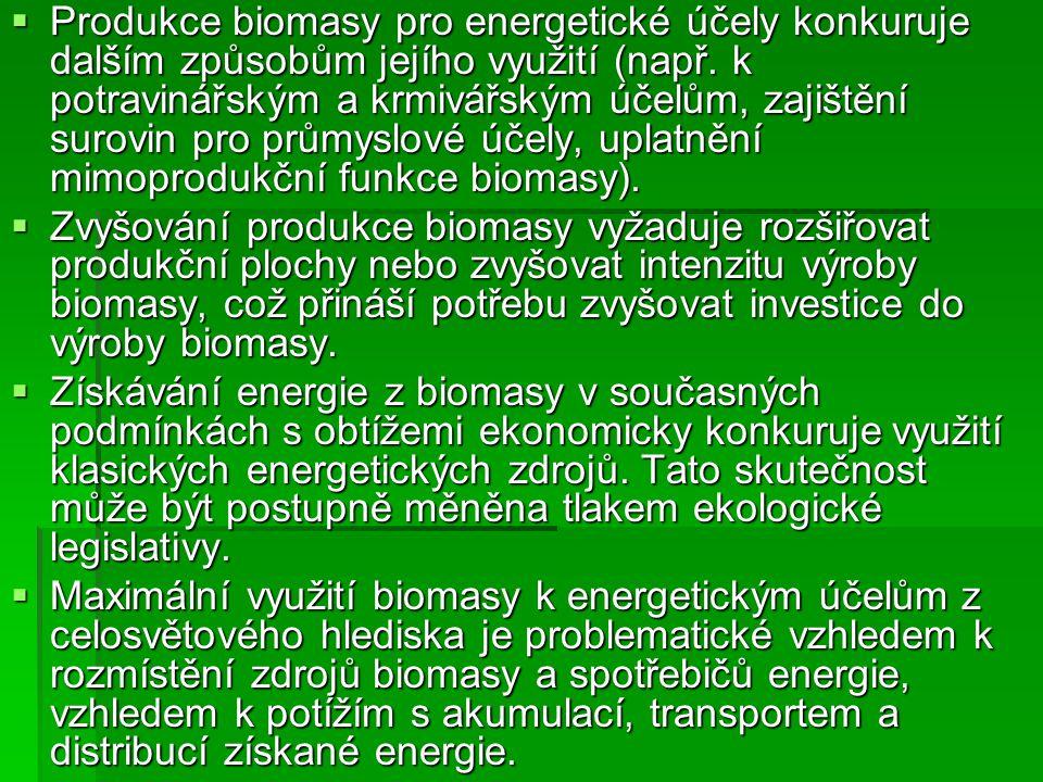 Produkce biomasy pro energetické účely konkuruje dalším způsobům jejího využití (např. k potravinářským a krmivářským účelům, zajištění surovin pro průmyslové účely, uplatnění mimoprodukční funkce biomasy).