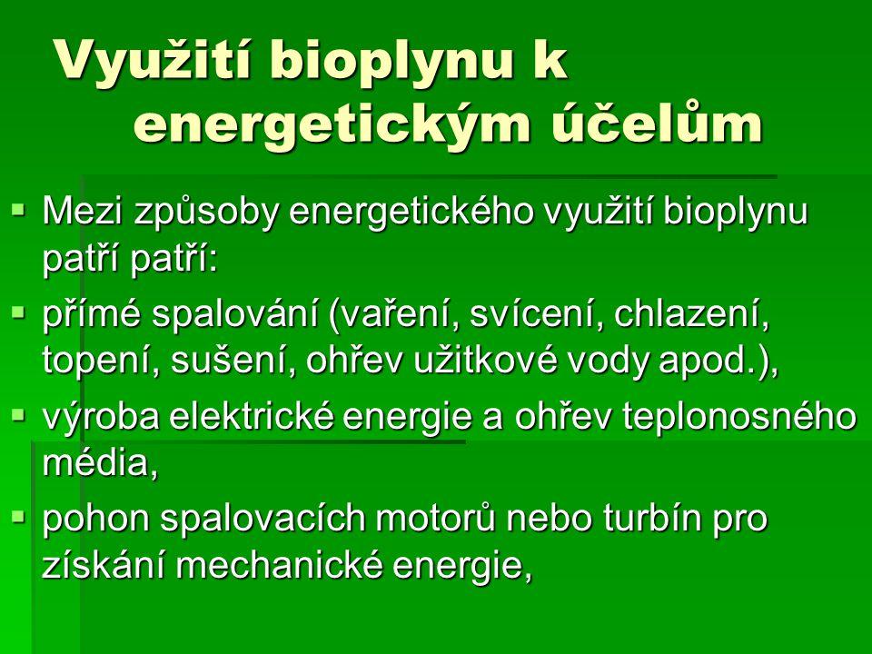 Využití bioplynu k energetickým účelům