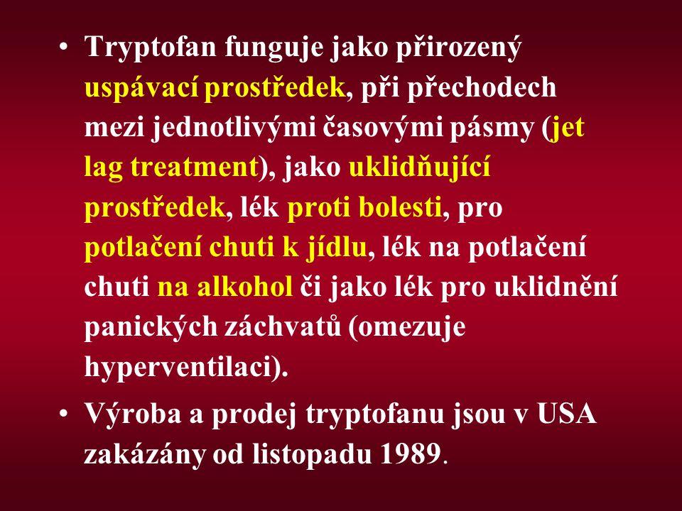 Tryptofan funguje jako přirozený uspávací prostředek, při přechodech mezi jednotlivými časovými pásmy (jet lag treatment), jako uklidňující prostředek, lék proti bolesti, pro potlačení chuti k jídlu, lék na potlačení chuti na alkohol či jako lék pro uklidnění panických záchvatů (omezuje hyperventilaci).