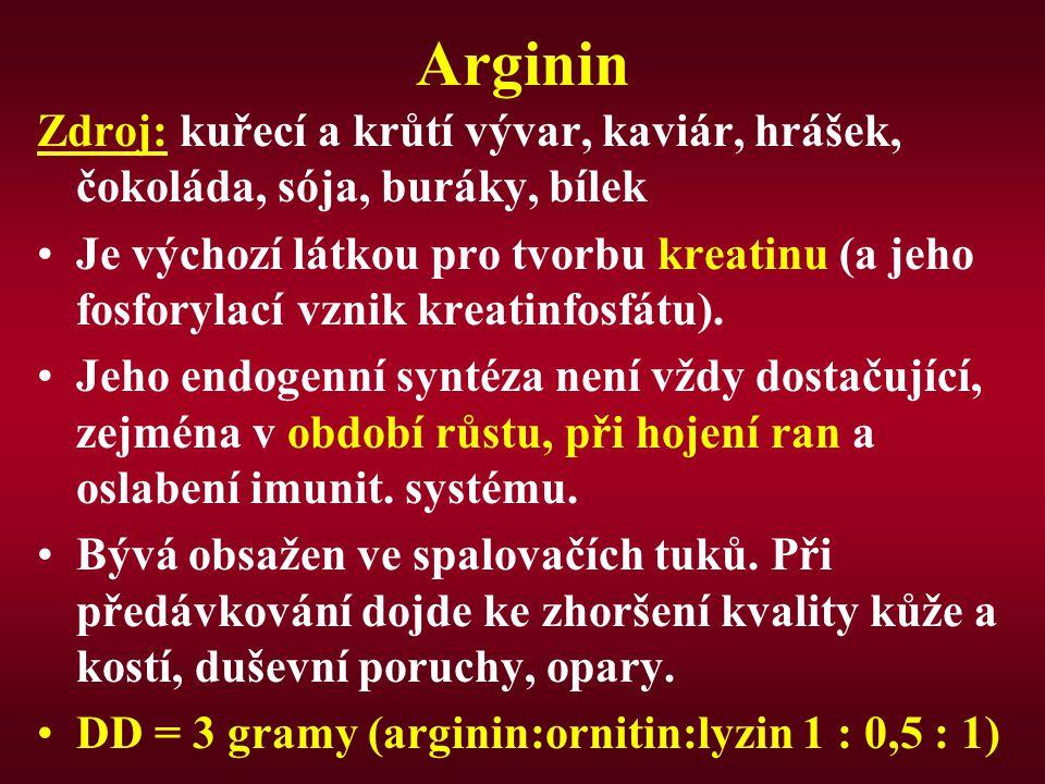 Arginin Zdroj: kuřecí a krůtí vývar, kaviár, hrášek, čokoláda, sója, buráky, bílek.