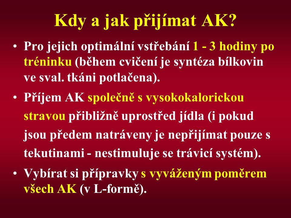 Kdy a jak přijímat AK Pro jejich optimální vstřebání 1 - 3 hodiny po tréninku (během cvičení je syntéza bílkovin ve sval. tkáni potlačena).