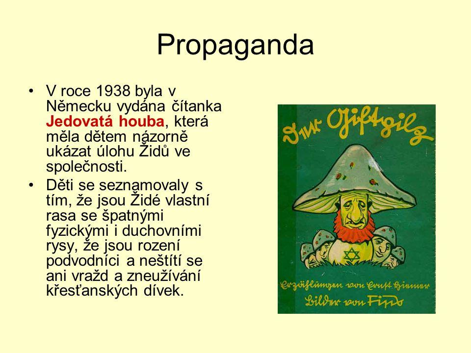 Propaganda V roce 1938 byla v Německu vydána čítanka Jedovatá houba, která měla dětem názorně ukázat úlohu Židů ve společnosti.