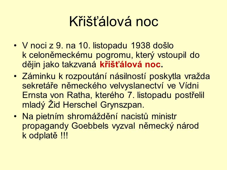 Křišťálová noc V noci z 9. na 10. listopadu 1938 došlo k celoněmeckému pogromu, který vstoupil do dějin jako takzvaná křišťálová noc.