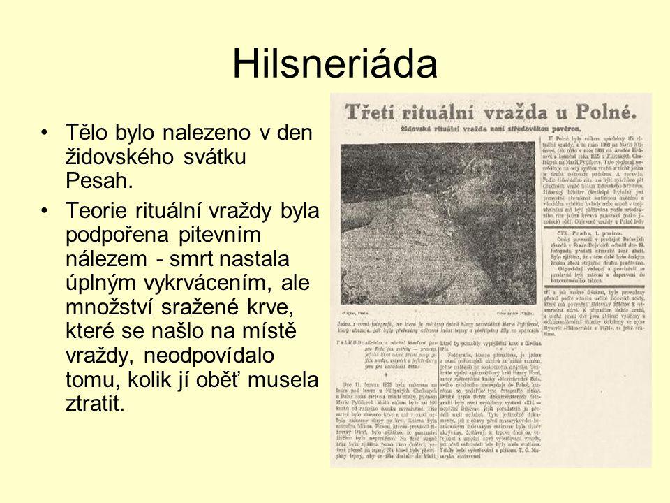 Hilsneriáda Tělo bylo nalezeno v den židovského svátku Pesah.