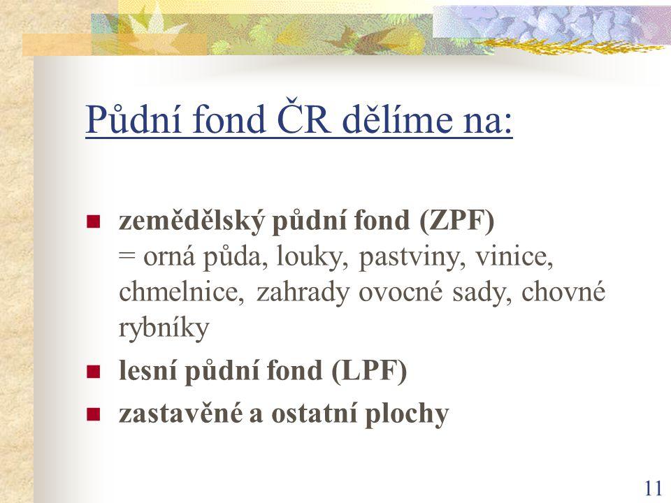 Půdní fond ČR dělíme na: