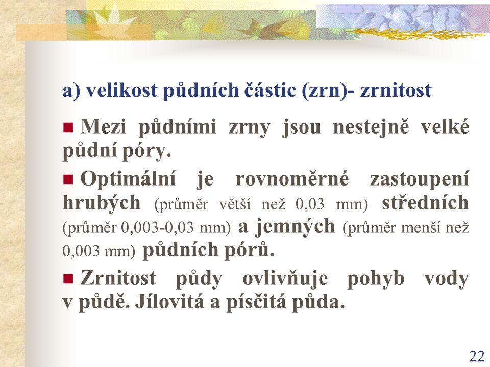 a) velikost půdních částic (zrn)- zrnitost