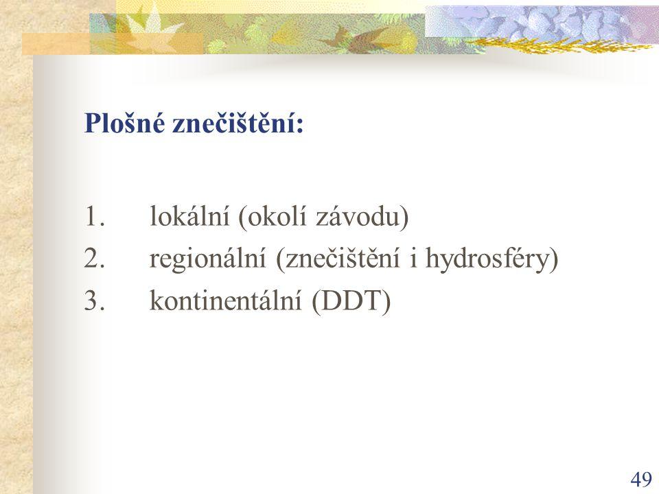 Plošné znečištění: 1. lokální (okolí závodu) 2. regionální (znečištění i hydrosféry) 3. kontinentální (DDT)