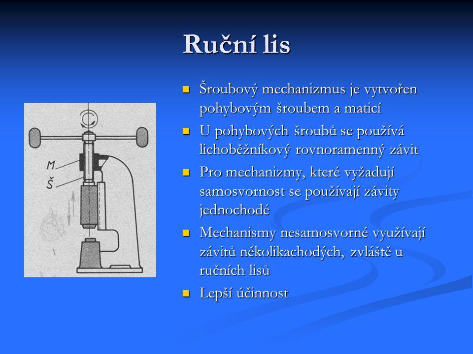 Ruční lis Šroubový mechanizmus je vytvořen pohybovým šroubem a maticí