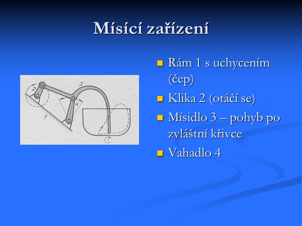 Mísící zařízení Rám 1 s uchycením (čep) Klika 2 (otáčí se)