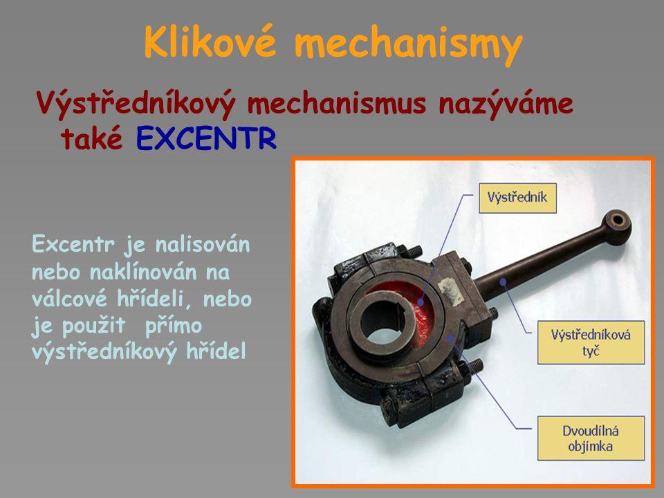 Klikové mechanismy Výstředníkový mechanismus nazýváme také EXCENTR
